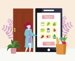 delivery grocery online vector