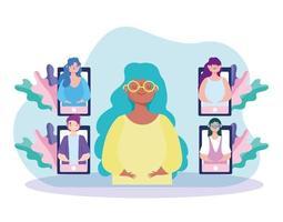 virtual meeting colleagues vector
