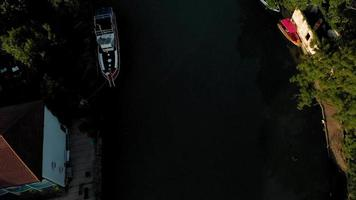 Boats on the river in a mountain valley Aerial Video Filming