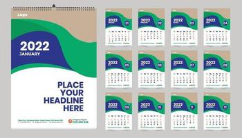 Free Wall Calendar 2022 Template Design Idea, Calendar 2022 vector