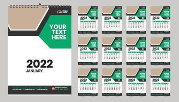 Free Wall Calendar 2022 Template Design Idea vector