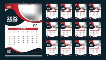 Wall Calendar 2022 Template Design Idea, Calendar 2022 vector