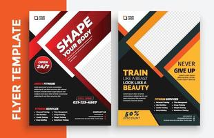 Free Gym fitness poster flyer pamphlet brochure cover design layout space for photo background, vector illustration template in A4 size
