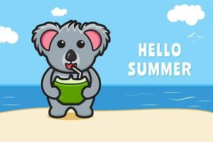 Cute koala drink coconut with a summer greeting banner cartoon vector icon illustration