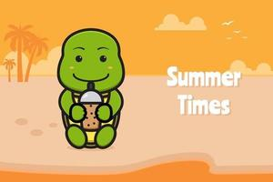 Cute turtle drink boba with a summer greeting banner cartoon vector icon illustration