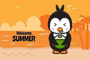 lindo pingüino bebe coco con una ilustración de icono de vector de dibujos animados de banner de saludo de verano