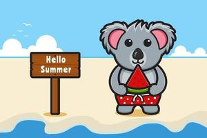 Cute koala holding watermelon with a summer greeting banner cartoon vector icon illustration