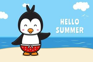 Cute penguin waving hand with a summer greeting banner cartoon vector icon illustration