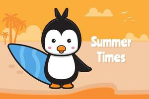 Cute penguin holding swimming board with a summer greeting banner cartoon vector icon illustration