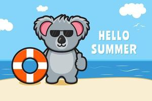 Cute koala holding swimming ring with a summer greeting banner cartoon vector icon illustration