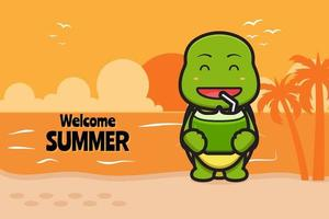 Cute turtle drink coconut with a summer greeting banner cartoon vector icon illustration