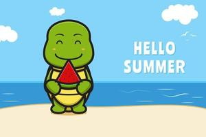Cute turtle holding watermelon with a summer greeting banner cartoon vector icon illustration