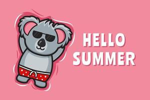 Cute koala floating relaxes with a summer greeting banner cartoon vector icon illustration