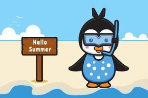 Cute penguin wearing goggles with a summer greeting banner cartoon vector icon illustration