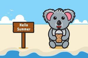 Cute koala drink boba with a summer greeting banner cartoon vector icon illustration