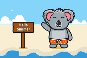 Cute koala waving hand with a summer greeting banner cartoon vector icon illustration