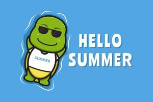 Cute turtle floating relaxes with a summer greeting banner cartoon vector icon illustration