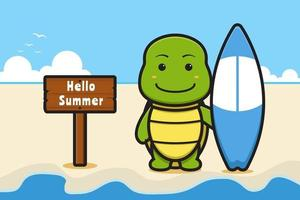 Cute turtle holding swimming board with a summer greeting banner cartoon vector icon illustration