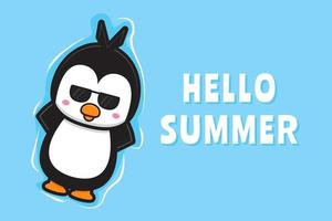Cute penguin floating relaxes with a summer greeting banner cartoon vector icon illustration