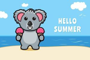 Cute koala and ice cream with a summer greeting banner cartoon vector icon illustration