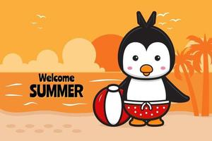 Cute turtle holding ball with a summer greeting banner cartoon vector icon illustration