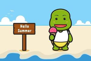 Cute turtle and ice cream with a summer greeting banner cartoon vector icon illustration