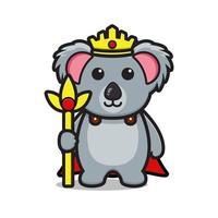 Cute king koala mascot character cartoon vector icon illustration