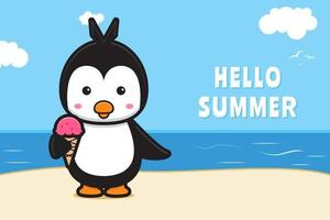 Cute penguin and ice cream with a summer greeting banner cartoon vector icon illustration