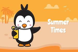 Cute turtle holding orange juice with a summer greeting banner cartoon vector icon illustratio
