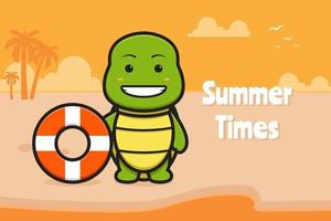 Cute turtle holding swimming ring with a summer greeting banner cartoon vector icon illustration