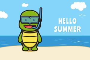 Cute turtle wearing goggles with a summer greeting banner cartoon vector icon illustration