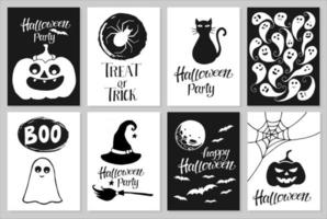 Set of hand drawn Halloween party invitations or greeting cards with handwritten calligraphy and traditional symbols. Vector illustration.