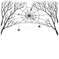 Web stretched between branches. Scary spider web with spooky spider, isolated on white background. Hand drawn illustration. Halloween decor, net texture tattoo design vector template.