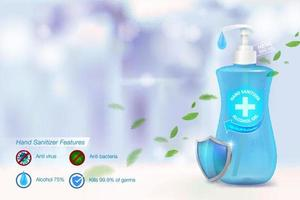 anuncios de gel de alcohol desinfectante de manos. vector