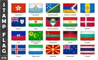 Stamp with official country flag pattern and old grunge texture and countries name . Rectangle shape . Vector . Set 8 of 12 on this series . All national flags of the world .