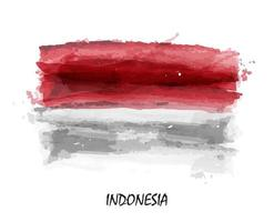 Realistic watercolor painting flag of Indonesia . Vector .