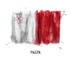 Realistic watercolor painting flag of Malta . Vector .