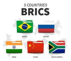 BRICS . Association of 5 countries . Folder flag design . White isolated background and country map . Vector .