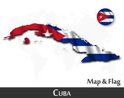 mapa y bandera de cuba. agitando diseño textil. fondo del mapa del mundo de puntos. vector. vector