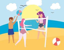 people playing beach vector