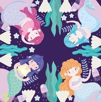 sirenas de dibujos animados lindas conchas de algas submarinas vector