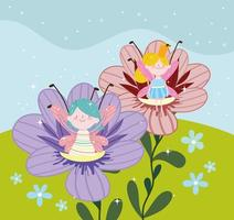 fairies cute flowers vector