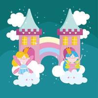 cute fairy castle vector
