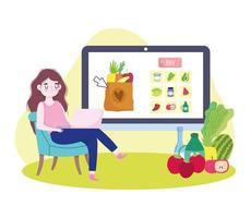 ordering grocery online vector