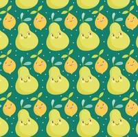 food pattern funny happy cartoon pears and lemon fruits vector