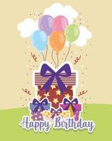 Birthday gifts balloons vector