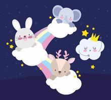 cartoon animals rainbow vector