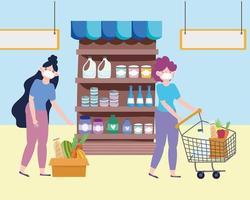 grocery shop women vector