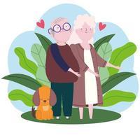family grandparents dog vector