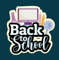 Back to School computer test tube pencil and magnifier vector